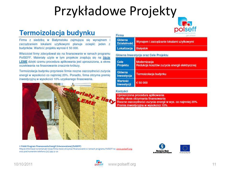 10/10/2011www.polseff.org11 Przykładowe Projekty