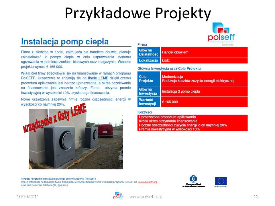 10/10/2011www.polseff.org12 Przykładowe Projekty