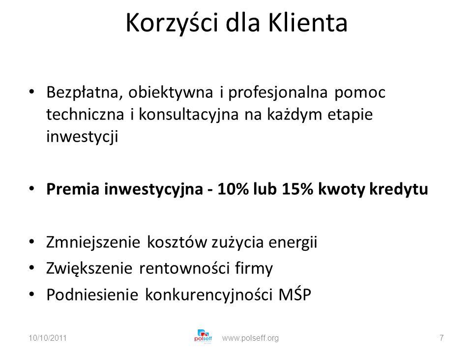 Korzyści dla Klienta Bezpłatna, obiektywna i profesjonalna pomoc techniczna i konsultacyjna na każdym etapie inwestycji Premia inwestycyjna - 10% lub 15% kwoty kredytu Zmniejszenie kosztów zużycia energii Zwiększenie rentowności firmy Podniesienie konkurencyjności MŚP 10/10/2011www.polseff.org7