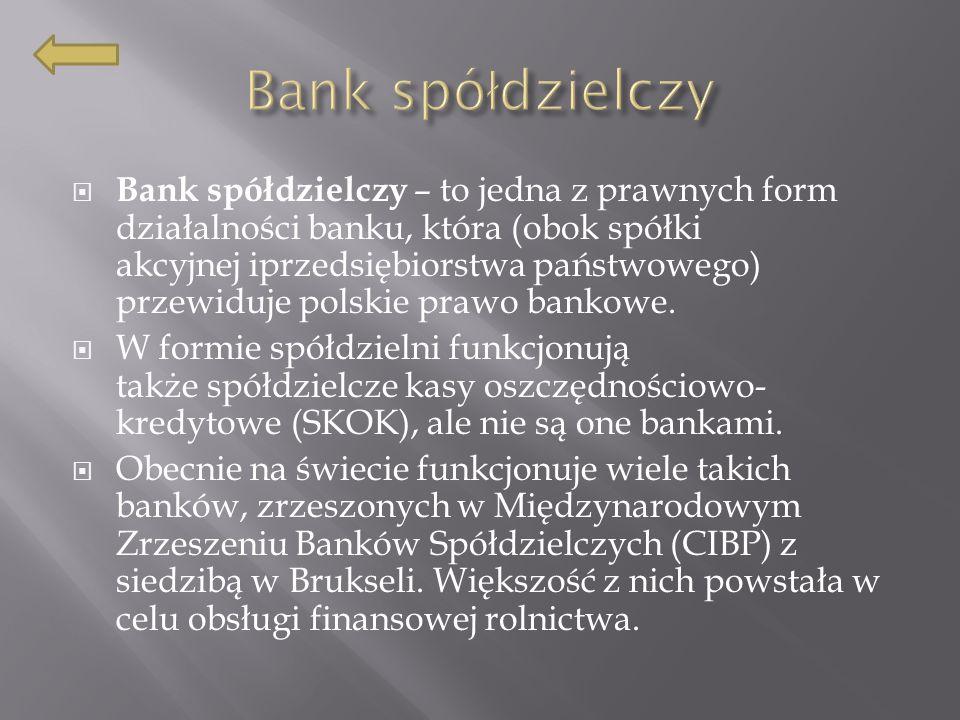 Bank spółdzielczy – to jedna z prawnych form działalności banku, która (obok spółki akcyjnej iprzedsiębiorstwa państwowego) przewiduje polskie prawo bankowe.