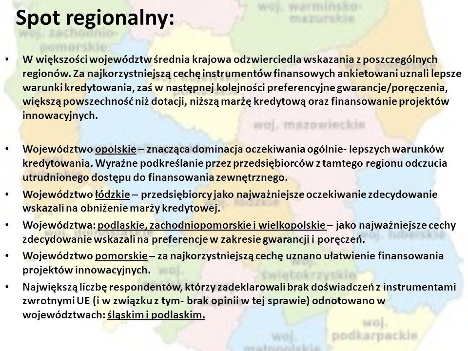 Spot regionalny: W większości województw średnia krajowa odzwierciedla wskazania z poszczególnych regionów. Za najkorzystniejszą cechę instrumentów fi
