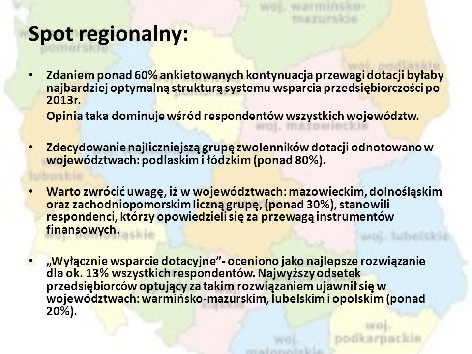 Spot regionalny: Zdaniem ponad 60% ankietowanych kontynuacja przewagi dotacji byłaby najbardziej optymalną strukturą systemu wsparcia przedsiębiorczoś