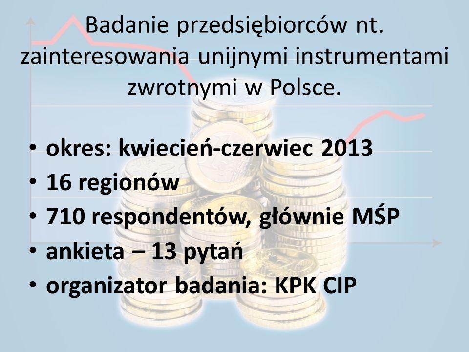 Badanie przedsiębiorców nt. zainteresowania unijnymi instrumentami zwrotnymi w Polsce. okres: kwiecień-czerwiec 2013 16 regionów 710 respondentów, głó