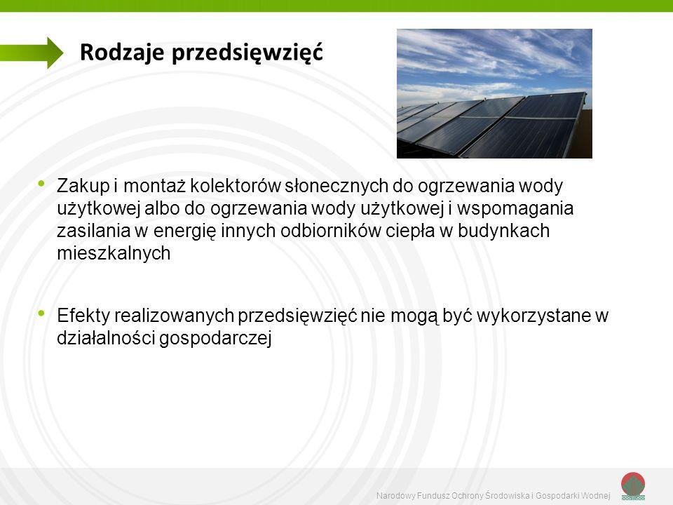 Narodowy Fundusz Ochrony Środowiska i Gospodarki Wodnej Rodzaje przedsięwzięć Zakup i montaż kolektorów słonecznych do ogrzewania wody użytkowej albo