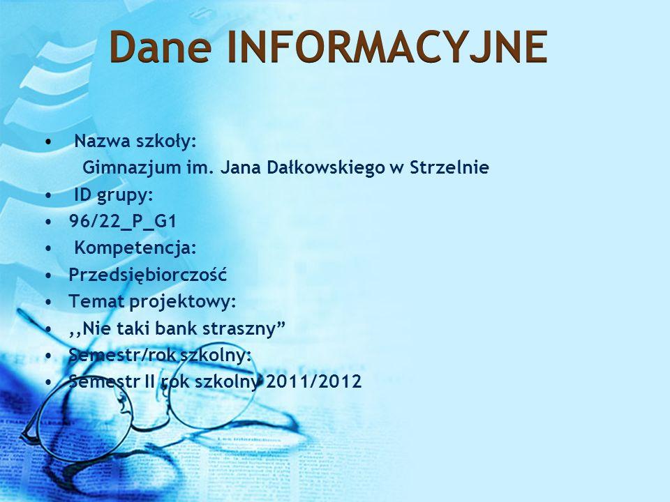Nazwa szkoły: Gimnazjum im. Jana Dałkowskiego w Strzelnie ID grupy: 96/22_P_G1 Kompetencja: Przedsiębiorczość Temat projektowy:,,Nie taki bank straszn