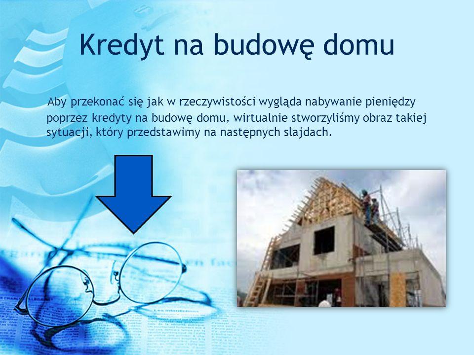 Kredyt na budowę domu Aby przekonać się jak w rzeczywistości wygląda nabywanie pieniędzy poprzez kredyty na budowę domu, wirtualnie stworzyliśmy obraz