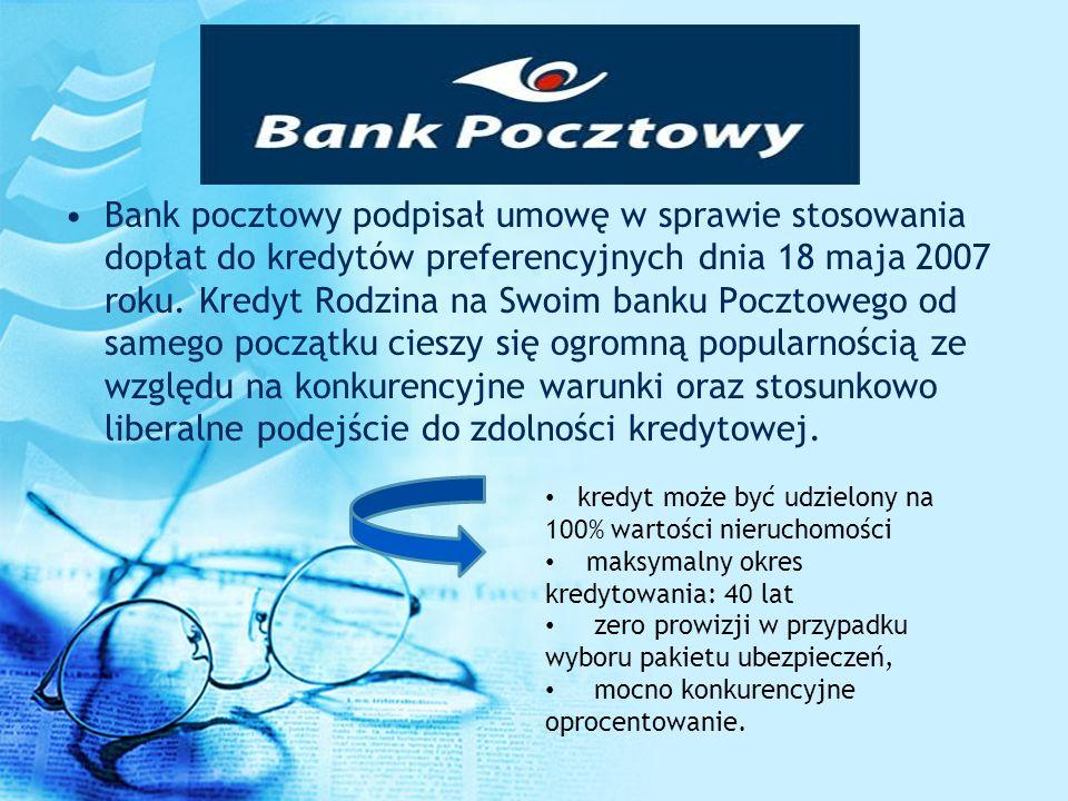 Bank pocztowy podpisał umowę w sprawie stosowania dopłat do kredytów preferencyjnych dnia 18 maja 2007 roku. Kredyt Rodzina na Swoim banku Pocztowego
