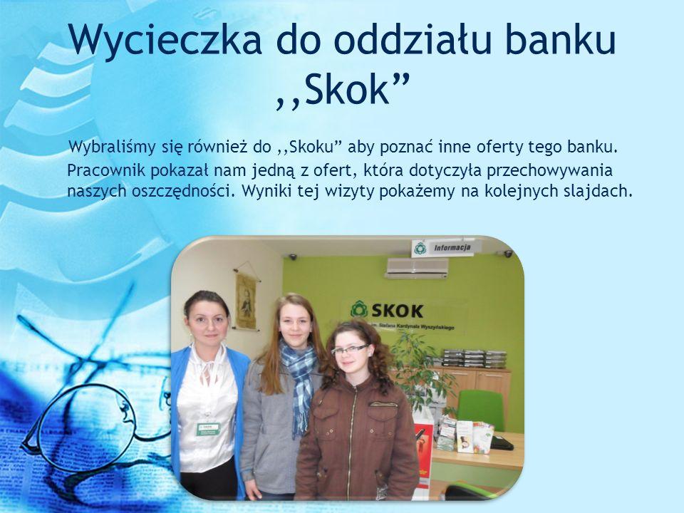 Wycieczka do oddziału banku,,Skok Wybraliśmy się również do,,Skoku aby poznać inne oferty tego banku. Pracownik pokazał nam jedną z ofert, która dotyc