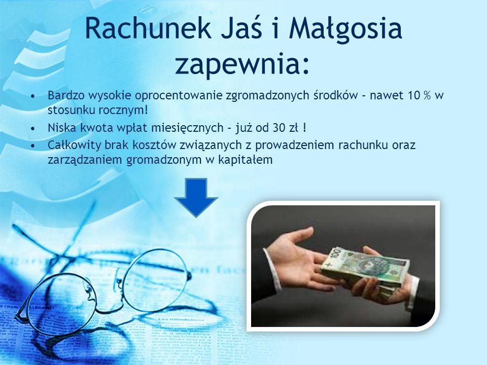 Rachunek Jaś i Małgosia zapewnia: Bardzo wysokie oprocentowanie zgromadzonych środków – nawet 10 % w stosunku rocznym! Niska kwota wpłat miesięcznych