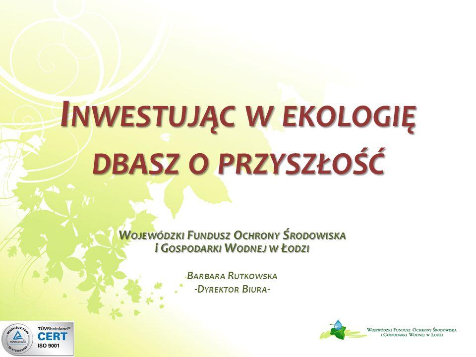 Maksymalne dofinansowanie ze środków WFOŚiGW w Łodzi: zadania z zakresu małej retencji ujęte w Wojewódzkim Programie Małej Retencji, retencja korytowa, budowa, remont budowli piętrzących i zbiorników wodnych oraz roboty konserwacyjne i zabezpieczające na rzekach, zbiornikach wodnych, wałach przeciwpowodziowych, budowlach wodnych.