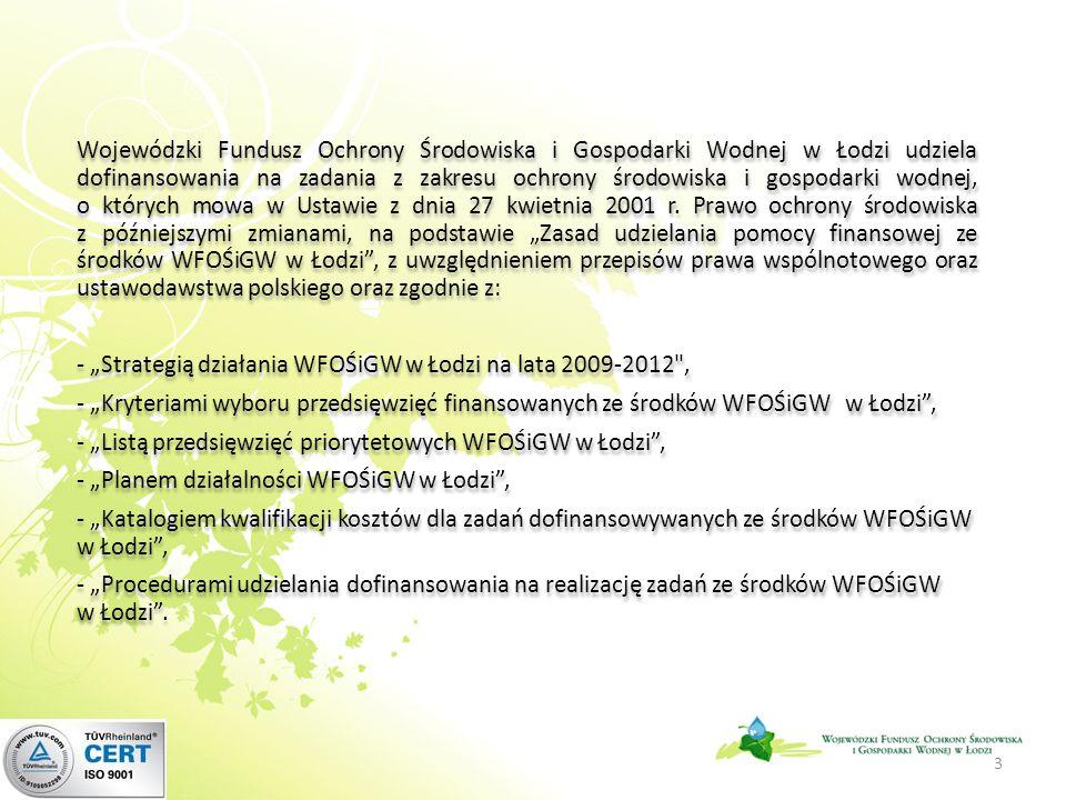 Wojewódzki Fundusz Ochrony Środowiska i Gospodarki Wodnej w Łodzi udziela dofinansowania na zadania z zakresu ochrony środowiska i gospodarki wodnej, o których mowa w Ustawie z dnia 27 kwietnia 2001 r.