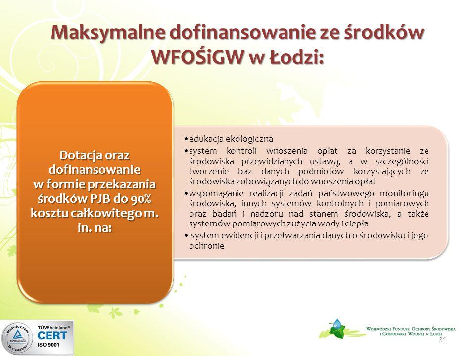 Maksymalne dofinansowanie ze środków WFOŚiGW w Łodzi: edukacja ekologiczna system kontroli wnoszenia opłat za korzystanie ze środowiska przewidzianych ustawą, a w szczególności tworzenie baz danych podmiotów korzystających ze środowiska zobowiązanych do wnoszenia opłat wspomaganie realizacji zadań państwowego monitoringu środowiska, innych systemów kontrolnych i pomiarowych oraz badań i nadzoru nad stanem środowiska, a także systemów pomiarowych zużycia wody i ciepła system ewidencji i przetwarzania danych o środowisku i jego ochronie Dotacja oraz dofinansowanie w formie przekazania środków PJB do 90% kosztu całkowitego m.