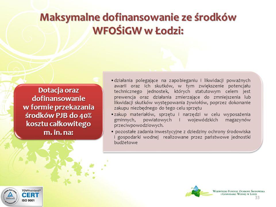 Maksymalne dofinansowanie ze środków WFOŚiGW w Łodzi: działania polegające na zapobieganiu i likwidacji poważnych awarii oraz ich skutków, w tym zwiększenie potencjału technicznego jednostek, których statutowym celem jest prewencja oraz działania zmierzające do zmniejszenia lub likwidacji skutków występowania żywiołów, poprzez dokonanie zakupu niezbędnego do tego celu sprzętu zakup materiałów, sprzętu i narzędzi w celu wyposażenia gminnych, powiatowych i wojewódzkich magazynów przeciwpowodziowych.