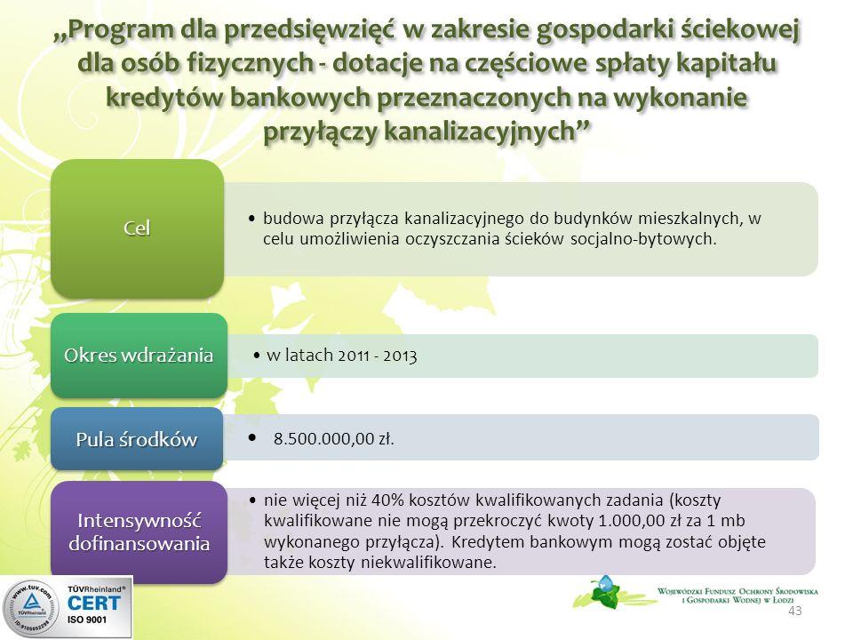 Program dla przedsięwzięć w zakresie gospodarki ściekowej dla osób fizycznych - dotacje na częściowe spłaty kapitału kredytów bankowych przeznaczonych na wykonanie przyłączy kanalizacyjnych 43 budowa przyłącza kanalizacyjnego do budynków mieszkalnych, w celu umożliwienia oczyszczania ścieków socjalno-bytowych.