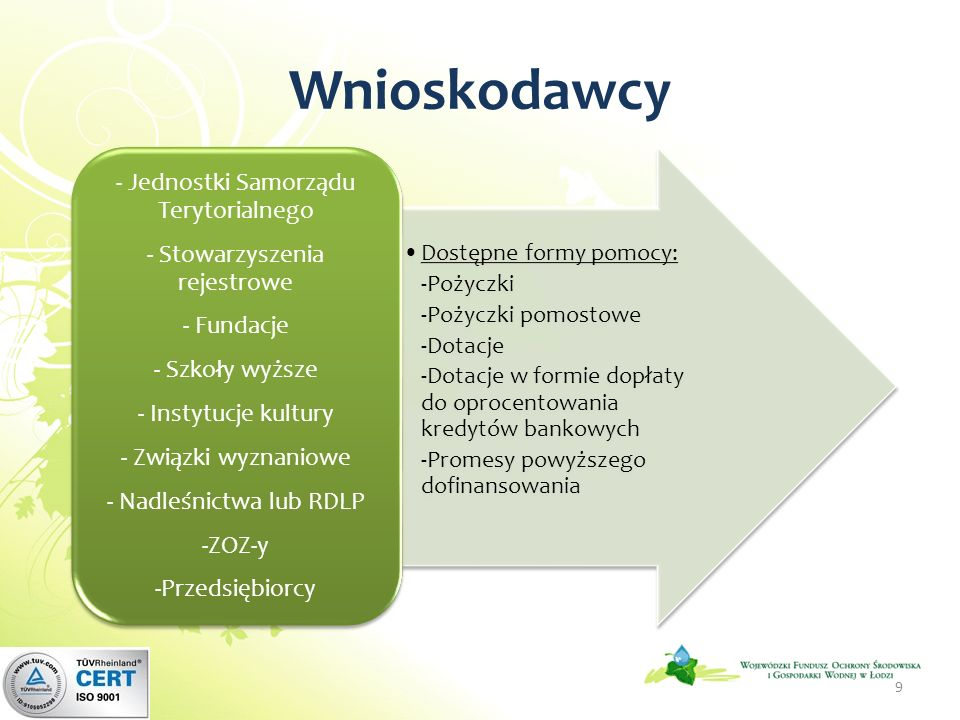 Maksymalne dofinansowanie ze środków WFOŚiGW w Łodzi: dofinansowanie zadań z zakresu usuwania wyrobów zawierających azbest na terenie województwa łódzkiego realizowanych przez jednostki samorządu terytorialnego i ich jednostki organizacyjne oraz państwowe jednostki budżetowe likwidację skutków klęsk żywiołowych likwidację skutków powodzi, wiatru, osunięcia ziemi lub działań innego żywiołu w zakresie wyszczególnionym w Zasadach… przez podmioty do tego zobowiązane na podstawie stosownych przepisów prawa edukację ekologiczną organizowaną przez samorząd terytorialny dla dzieci do 18 roku życia zamieszkałych w nieruchomościach na terenie województwa dotkniętych skutkami żywiołów zadania, których realizacja jest wynikiem konkursu ogłoszonego przez Fundusz zadania z zakresu ochrony przyrody i krajobrazu na terenach znajdujących się pod ochroną Dotacja oraz dofinansowanie w formie przekazania PJB do 99% kosztu całkowitego m.
