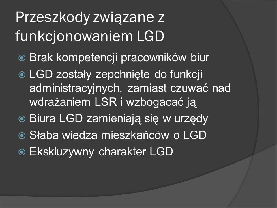 Przeszkody związane z funkcjonowaniem LGD Brak kompetencji pracowników biur LGD zostały zepchnięte do funkcji administracyjnych, zamiast czuwać nad wdrażaniem LSR i wzbogacać ją Biura LGD zamieniają się w urzędy Słaba wiedza mieszkańców o LGD Ekskluzywny charakter LGD
