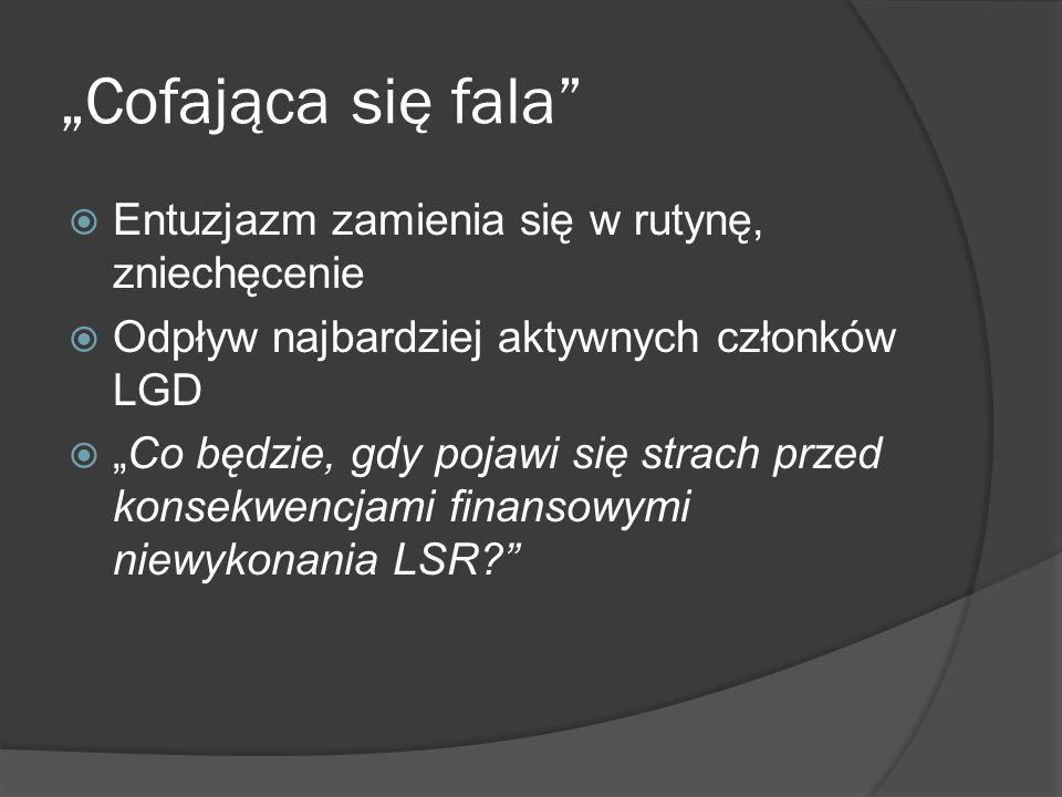 Przeszkody związane z nadmiernym wpływem samorządów na działalność LGD DYLEMAT: LGD i LSR czasami podporządkowane interesom gmin – lecz często bez udziału gmin nie poradziłyby sobie (kredyt, poręczenie, składki) Pojawiają się przypadki układu w LGD Dominacja gmin w zarządach, radach LGD Co będzie, jak LGD wyda pieniądze z Wdrażania LSR na odnowę wsi.