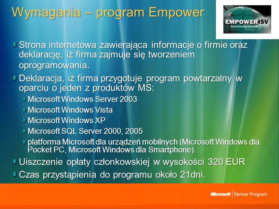 Wymagania – program Empower Strona internetowa zawierająca informacje o firmie oraz deklarację, iż firma zajmuje się tworzeniem oprogramowania.