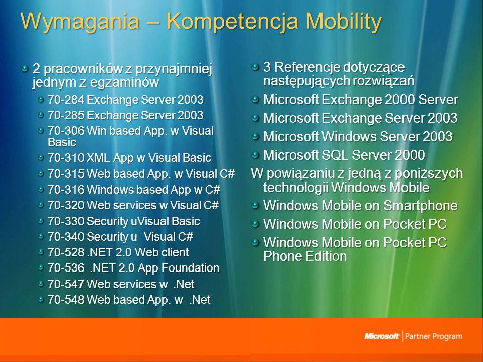 Wymagania – Kompetencja Mobility 2 pracowników z przynajmniej jednym z egzaminów 70-284 Exchange Server 2003 70-285 Exchange Server 2003 70-306 Win based App.