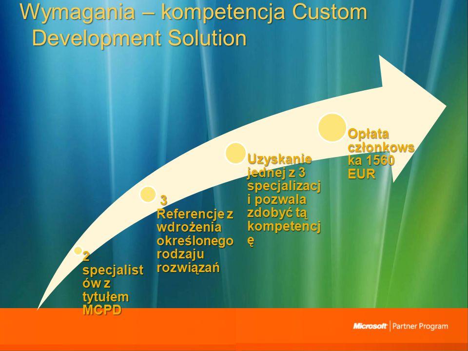 Wymagania – kompetencja Custom Development Solution 2 specjalist ów z tytułem MCPD 3 Referencje z wdrożenia określonego rodzaju rozwiązań 3 Referencje z wdrożenia określonego rodzaju rozwiązań Uzyskanie jednej z 3 specjalizacj i pozwala zdobyć tą kompetencj ę Opłata członkows ka 1560 EUR