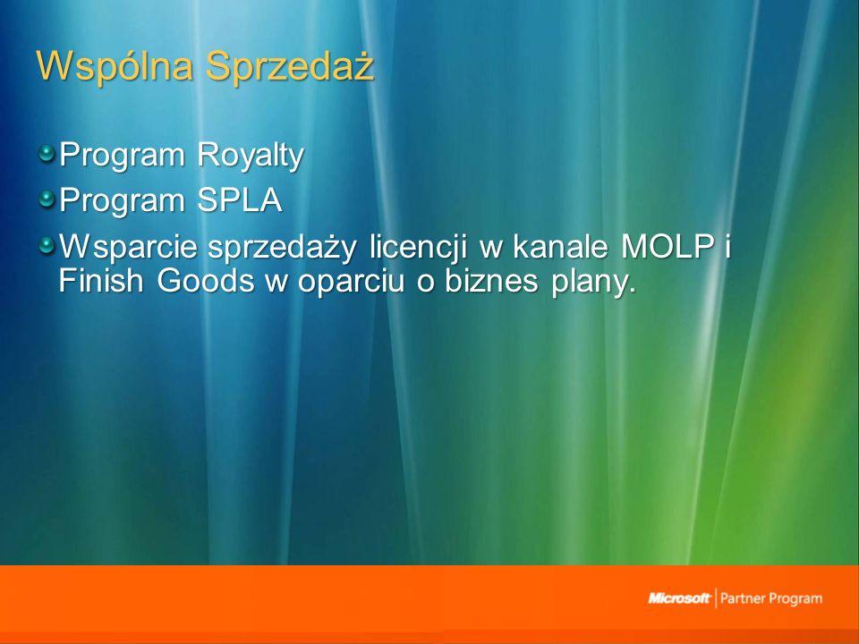 Wspólna Sprzedaż Program Royalty Program SPLA Wsparcie sprzedaży licencji w kanale MOLP i Finish Goods w oparciu o biznes plany.