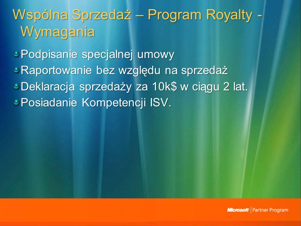 Wspólna Sprzedaż – Program Royalty - Wymagania Podpisanie specjalnej umowy Raportowanie bez względu na sprzedaż Deklaracja sprzedaży za 10k$ w ciągu 2 lat.