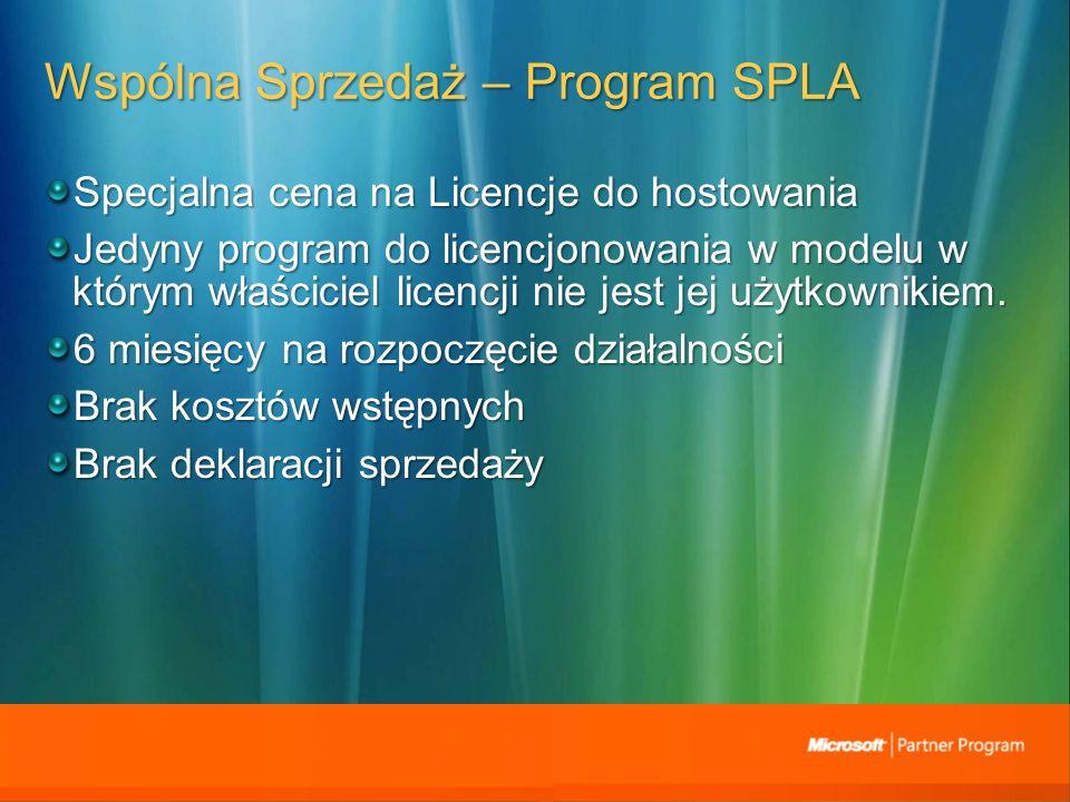 Wspólna Sprzedaż – Program SPLA Specjalna cena na Licencje do hostowania Jedyny program do licencjonowania w modelu w którym właściciel licencji nie jest jej użytkownikiem.