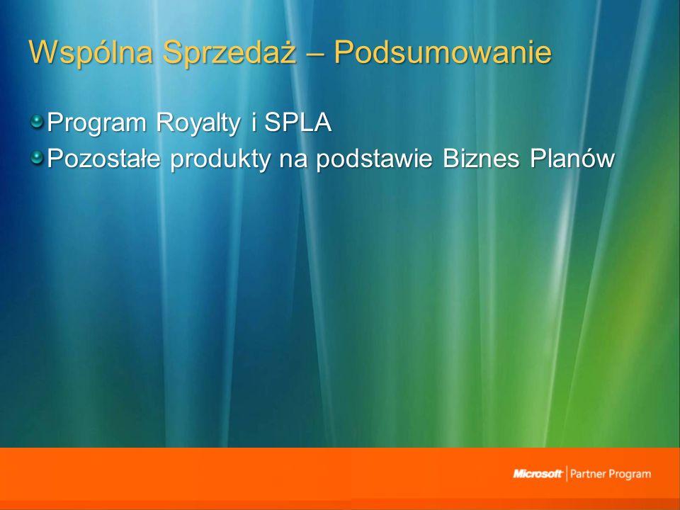 Wspólna Sprzedaż – Podsumowanie Program Royalty i SPLA Pozostałe produkty na podstawie Biznes Planów