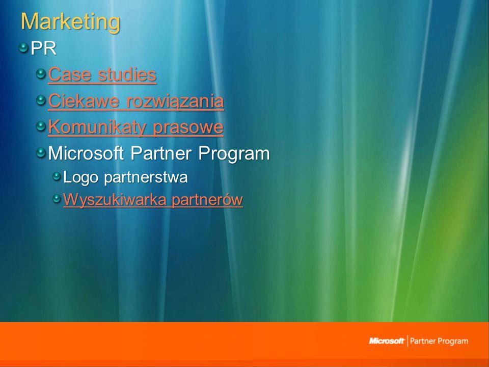 Marketing PR Case studies Case studies Ciekawe rozwiązania Ciekawe rozwiązania Komunikaty prasowe Komunikaty prasowe Microsoft Partner Program Logo partnerstwa Wyszukiwarka partnerów Wyszukiwarka partnerów