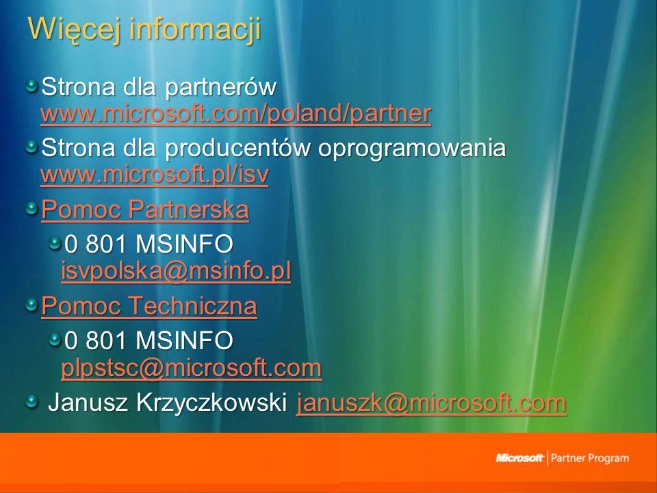 Więcej informacji Strona dla partnerów www.microsoft.com/poland/partner www.microsoft.com/poland/partner Strona dla producentów oprogramowania www.microsoft.pl/isv www.microsoft.pl/isv Pomoc Partnerska Pomoc Partnerska 0 801 MSINFO isvpolska@msinfo.pl isvpolska@msinfo.pl Pomoc Techniczna Pomoc Techniczna 0 801 MSINFO plpstsc@microsoft.com plpstsc@microsoft.com Janusz Krzyczkowski januszk@microsoft.com Janusz Krzyczkowski januszk@microsoft.comjanuszk@microsoft.com