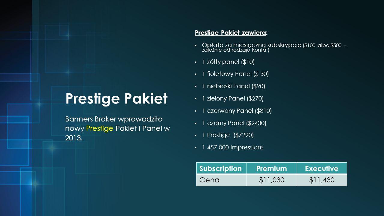 Prestige Pakiet Prestige Pakiet zawiera: Opłata za miesięczną subskrypcje ($100 albo $500 – zależnie od rodzaju konta ) 1 żółty panel ($10) 1 fioletowy Panel ($ 30) 1 niebieski Panel ($90) 1 zielony Panel ($270) 1 czerwony Panel ($810) 1 czarny Panel ($2430) 1 Prestige ($7290) 1 457 000 Impressions Banners Broker wprowadziło nowy Prestige Pakiet i Panel w 2013.