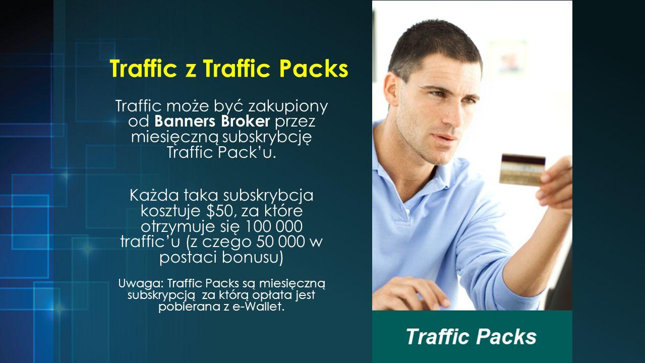 Traffic z Traffic Packs Traffic może być zakupiony od Banners Broker przez miesięczną subskrybcję Traffic Packu.