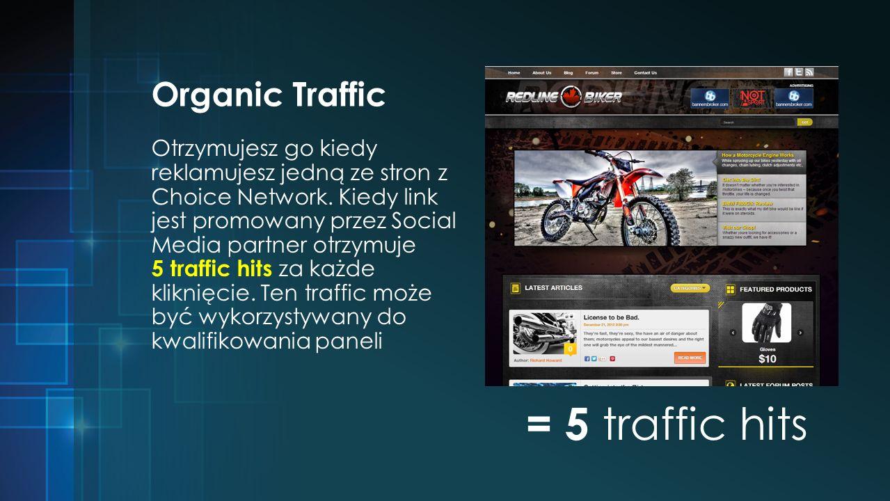 Organic Traffic Otrzymujesz go kiedy reklamujesz jedną ze stron z Choice Network.