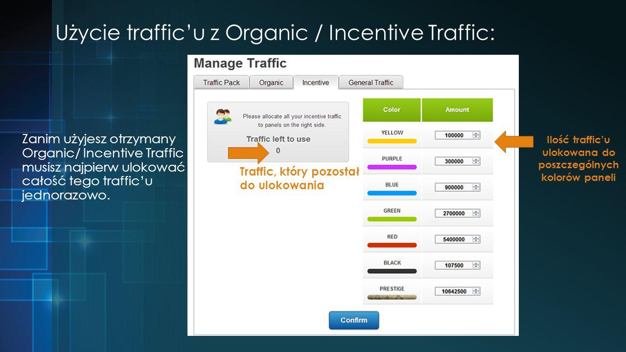 Użycie trafficu z Organic / Incentive Traffic: Zanim użyjesz otrzymany Organic/ Incentive Traffic musisz najpierw ulokować całość tego trafficu jednorazowo.