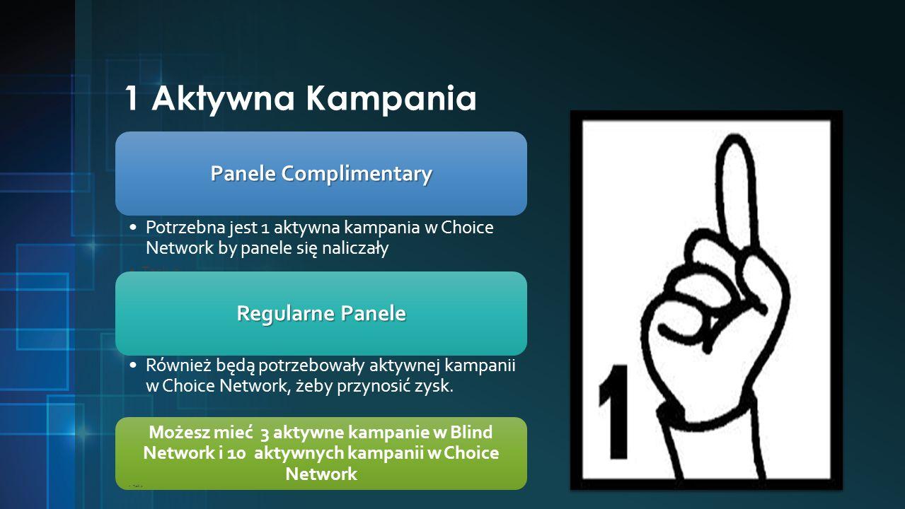1 Aktywna Kampania Panele Complimentary Potrzebna jest 1 aktywna kampania w Choice Network by panele się naliczały Task 2 Możesz mieć 3 aktywne kampanie w Blind Network i 10 aktywnych kampanii w Choice Network Również będą potrzebowały aktywnej kampanii w Choice Network, żeby przynosić zysk.
