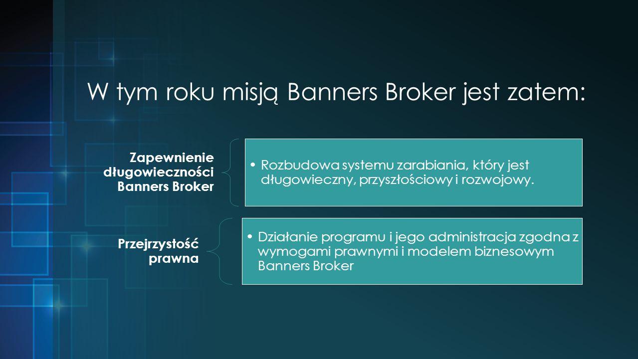 W tym roku misją Banners Broker jest zatem: Zapewnienie długowieczności Banners Broker Rozbudowa systemu zarabiania, który jest długowieczny, przyszłościowy i rozwojowy.