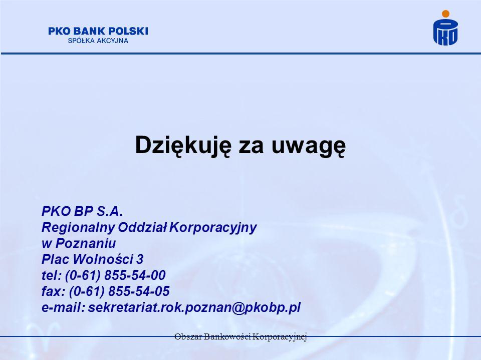 Obszar Bankowości Korporacyjnej Dziękuję za uwagę PKO BP S.A. Regionalny Oddział Korporacyjny w Poznaniu Plac Wolności 3 tel: (0-61) 855-54-00 fax: (0