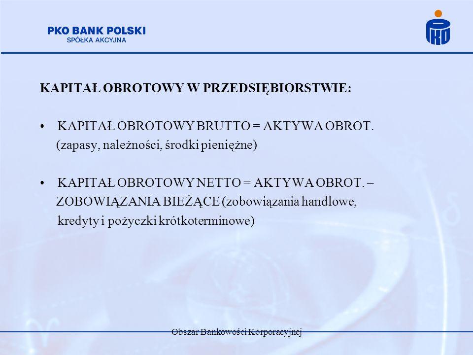 Obszar Bankowości Korporacyjnej KAPITAŁ OBROTOWY W PRZEDSIĘBIORSTWIE: KAPITAŁ OBROTOWY BRUTTO = AKTYWA OBROT. (zapasy, należności, środki pieniężne) K