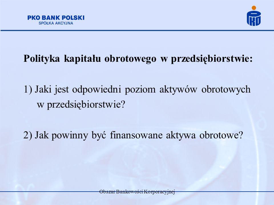 Obszar Bankowości Korporacyjnej Polityka kapitału obrotowego w przedsiębiorstwie: 1) Jaki jest odpowiedni poziom aktywów obrotowych w przedsiębiorstwi