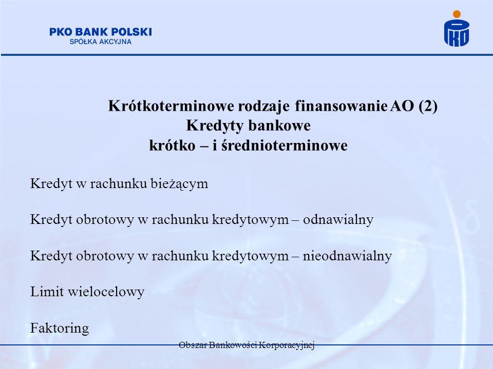 Obszar Bankowości Korporacyjnej Krótkoterminowe rodzaje finansowanie AO (2) Kredyty bankowe krótko – i średnioterminowe Kredyt w rachunku bieżącym Kre