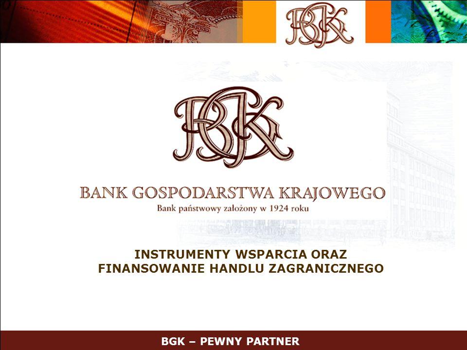 12 Oferta Krajowego Funduszu Poręczeń Kredytowych Poręczenia i gwarancje spłaty kredytów przeznaczonych na: –realizowanie kontraktów eksportowych –finansowanie inwestycji –wdrażanie nowych rozwiązań technicznych lub technologicznych –tworzenie nowych miejsc pracy –finansowanie działalności gospodarczej mikro, małych i średnich przedsiębiorców Korzyści dla Klientów: –uzyskanie dostępu do kredytowania pomimo: –krótkiej historii kredytowej –posiadania aktywów o małej wartości lub nie akceptowanych jako wiarygodne zabezpieczenie kredytu –oszczędność czasu –konkurencyjne zabezpieczenie z uwagi na możliwość swobodnego dysponowania majątkiem BGK – PEWNY PARTNER