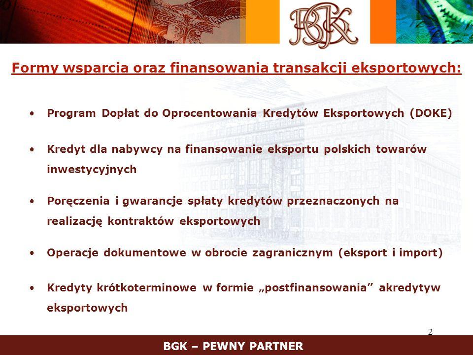3 Finansowanie kontraktów eksportowych w ramach Programu DOKE oraz Kredytem dla nabywcy – cechy podstawowe BGK – PEWNY PARTNER Wyłącznie polskie towary i usługi – min.