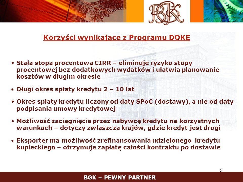6 Korzyści wynikające z Programu DOKE – cd.Ubezpieczenie kredytu w KUKE S.A.