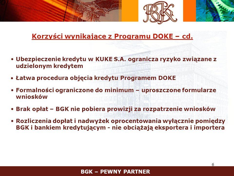 7 Program DOKE – schemat EksporterImporter Bankkredytujący BGK KUKE rynekmiędzybankowy kontrakt eksportowy umowa kredytu stopa CIRR umowa DOKE pozyskanie funduszy na rynku płatność za eksport ubezpieczenie kredytu