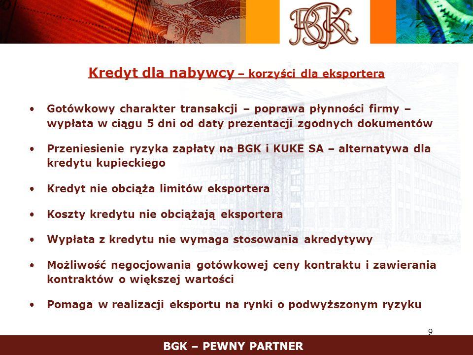 20 Kontakt z BGK BANK GOSPODARSTWA KRAJOWEGO Departament Wspierania Handlu Zagranicznego tel.:(0-22) 522 92 31 fax:(0-22) 522 91 28 www.bgk.com.pl, e-mail: dwhz@bgk.com.pl Zespół Programów Zleconych (DOKE) tel.:(0-22) 522 95 56, 522 92 19 e-mail: doke@bgk.com.pl Zespół Finansowania Eksportu tel.:(0-22) 522 93 72, 522 93 77 Wydział Operacji Dokumentowych tel.:(0-22) 522 92 35, 522 96 65 Zapraszamy do korzystania z naszych produktów i usług BGK – PEWNY PARTNER Departament Wspierania Przedsiębiorczości i Innowacji (Poręczenia i gwarancje) tel.: (0-22) 522 96 30 fax: (0-22) 627 06 39 e-mail: dwpi@bgk.com.pl