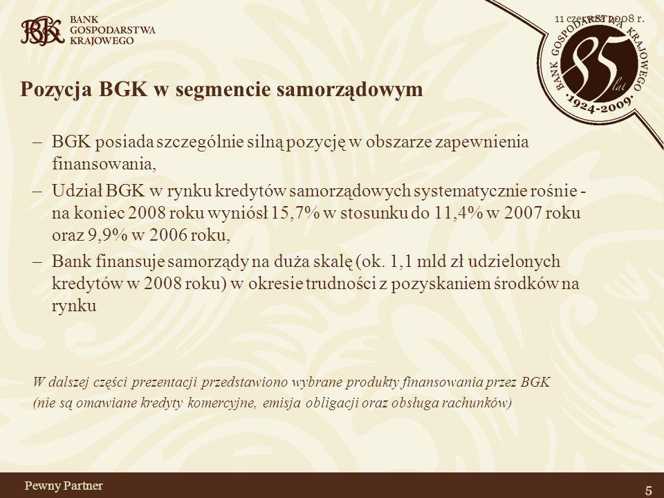 Pewny Partner Pozycja BGK w segmencie samorządowym –BGK posiada szczególnie silną pozycję w obszarze zapewnienia finansowania, –Udział BGK w rynku kredytów samorządowych systematycznie rośnie - na koniec 2008 roku wyniósł 15,7% w stosunku do 11,4% w 2007 roku oraz 9,9% w 2006 roku, –Bank finansuje samorządy na duża skalę (ok.