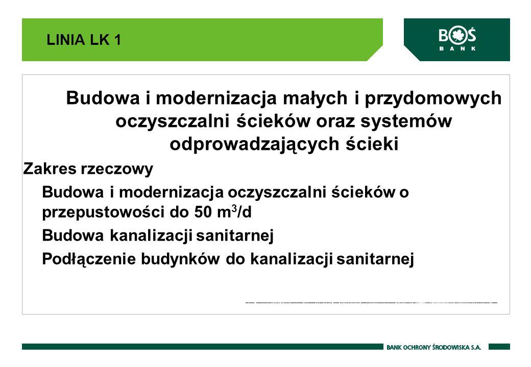 LINIA LK 1 Budowa i modernizacja małych i przydomowych oczyszczalni ścieków oraz systemów odprowadzających ścieki Zakres rzeczowy Budowa i modernizacj
