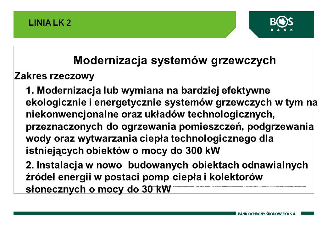 LINIA LK 2 Modernizacja systemów grzewczych Zakres rzeczowy 1. Modernizacja lub wymiana na bardziej efektywne ekologicznie i energetycznie systemów gr