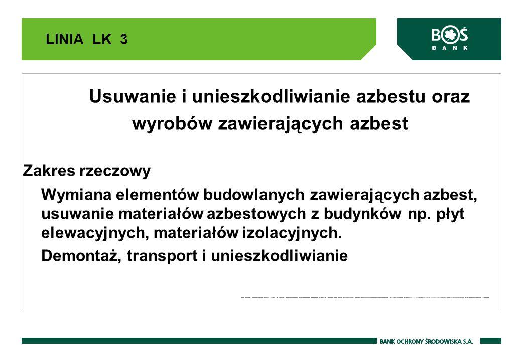 LINIA LK 3 Usuwanie i unieszkodliwianie azbestu oraz wyrobów zawierających azbest Zakres rzeczowy Wymiana elementów budowlanych zawierających azbest, usuwanie materiałów azbestowych z budynków np.