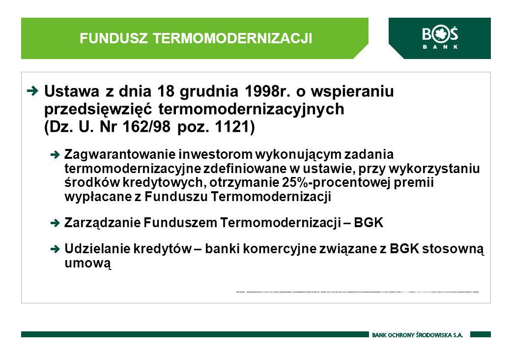 FUNDUSZ TERMOMODERNIZACJI Ustawa z dnia 18 grudnia 1998r. o wspieraniu przedsięwzięć termomodernizacyjnych (Dz. U. Nr 162/98 poz. 1121) Zagwarantowani